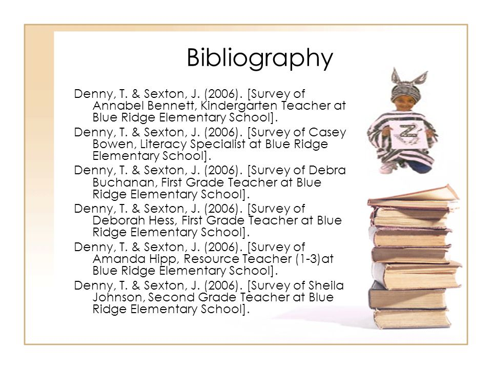 Bibliography Denny, T. & Sexton, J. (2006). [Survey of Annabel Bennett, Kindergarten Teacher at Blue Ridge Elementary School].